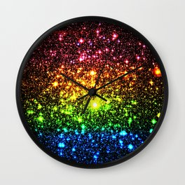 Rainbow Sparkle Galaxy Stars Wall Clock