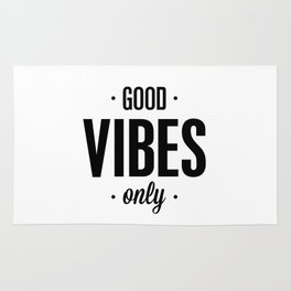 Good Vibes Only black and white vibrations typographic quote poster quotes wall home decor Rug