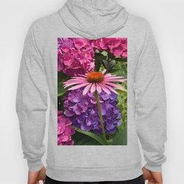 Pink Coneflower framed by Purple & Pink Hydrangea Flowers Digital Photography Custom Art Hoody