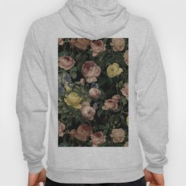 Vintage Roses and Iris Pattern - Dark Dreams Hoody