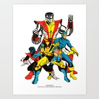 x men Art Prints featuring X-MEN by Şemsa Bilge (Semsa Fashion)