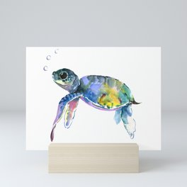 Sea Turtle, children artwork Illustration Mini Art Print