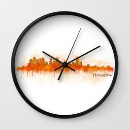 Houston City Skyline Hq v3 Wall Clock