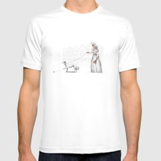 Walking The Dog White MEDIUM Mens Fitted Tee