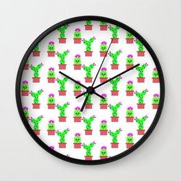 Cute Cactus Pattern Wall Clock
