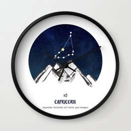Astrology Capricorn Zodiac Horoscope Constellation Star Sign Watercolor Poster Wall Art Wall Clock