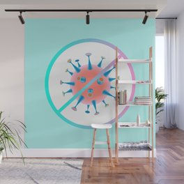 Stop the Virus - Blue Background Wall Mural
