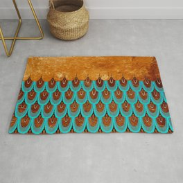 Copper Metal Foil and Aqua Mermaid Scales- Abstract glitter pattern Rug