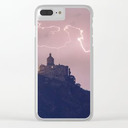 Amazing lightning around the church Clear iPhone Case