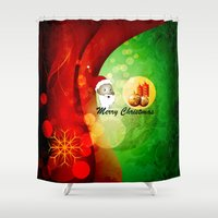 merry christmas Shower Curtains featuring Merry christmas by nicky2342