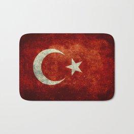 National flag of Turkey, Vintage textured Bath Mat