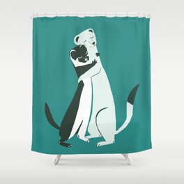 Weasel hugs in teal Shower Curtain