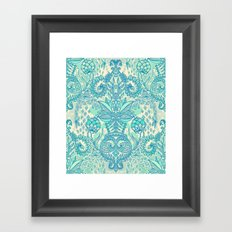 Botanical Geometry - nature pattern in blue, mint green & cream Framed Art Print