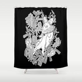 Rosary Pea & Hare Shower Curtain