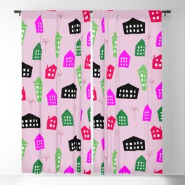 Abstract pink black green hand painted geometrical pattern Blackout Curtain