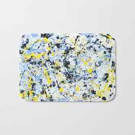 Abstract in Blue, Yellow and Black Bath Mat