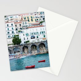 Italy - Red Boats in Amalfi Stationery Cards
