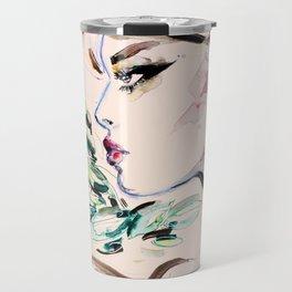 Fashion girl green leaves Travel Mug