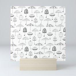 Happy Umbrellas Pattern - white Mini Art Print