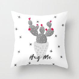 Hug Me Cactus in Pot Hearts Design Throw Pillow