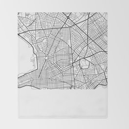 The Streets of Montevideo Map Throw Blanket