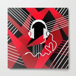 Red Love Gamer Headset Metal Print