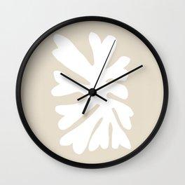 Beige Inverted Leaf Wall Clock