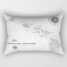 The Hawaiian Islands [Black & White] Map Print Rectangular Pillow