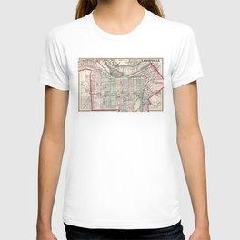 Vintage Map of Louisville Kentucky (1884) T-shirt