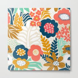 Flower Field Abstract Red Blue Gold White Pattern Metal Print