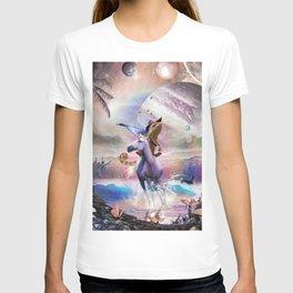 Cowboy Chameleon Lizard Riding Unicorn Beach Space Cute T-shirt