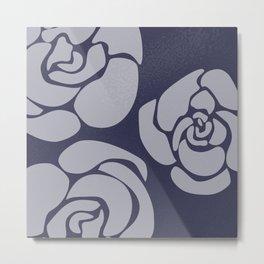White Roses on Blue II Metal Print