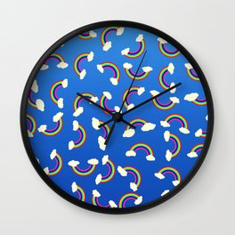 Cute and Colorful Rainbow Pattern on Blue Wall Clock