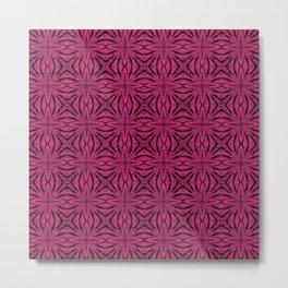 Black and Pink Yarrow Floral Metal Print