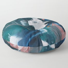 Exhilarated: a vibrant, abstract, mixed-media piece in greens and pinks by Alyssa Hamilton Art  Floor Pillow