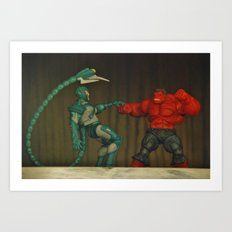 Red Hulk Fight Crime Art Print