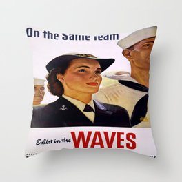 Vintage poster - Enlist in the Waves Throw Pillow