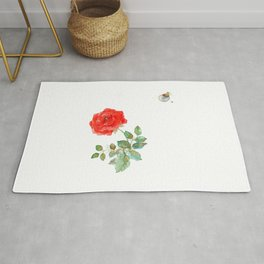 Le Petit Prince Little Prince with Fox & Rose horizontal Rug