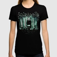 A Quiet Spot (in green) Womens Fitted Tee Black MEDIUM