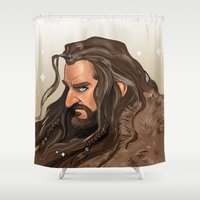 thorin Shower Curtains featuring I woke up this Majestic by Liv Moy