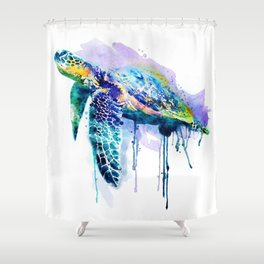 Watercolor Sea Turtle Shower Curtain