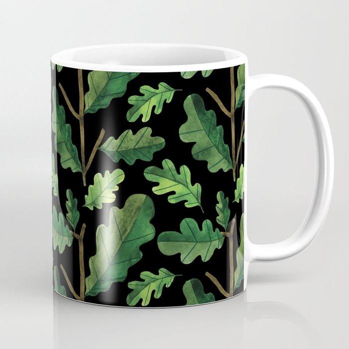 Forest green lime black watercolor oak leaves Coffee Mug