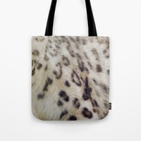 snow leopard Tote Bags featuring Snow Leopard by Pauline Fowler ( Polly470 )