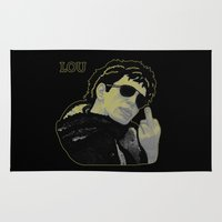 lou reed Area & Throw Rugs featuring Lou Reed by Adam Metzner