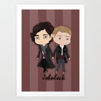 johnlock Art Prints featuring Johnlock by Alex Mathews
