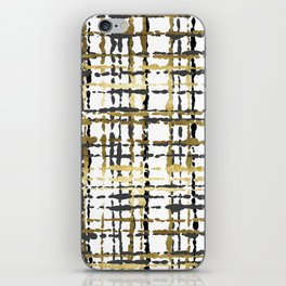 Black and Gold Loose Plaid iPhone Skin
