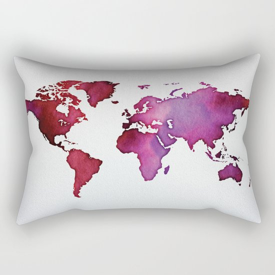 Red & Pink World Map Rectangular Pillow