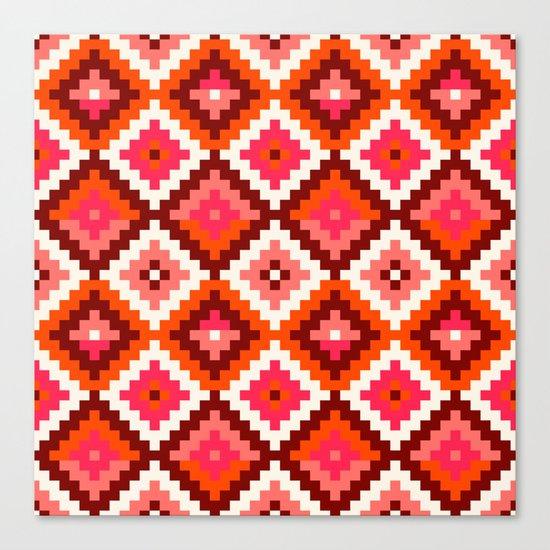 Aztec pattern-rose, orange, brown Canvas Print