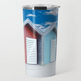 'Beach huts' Northumberland Travel Mug