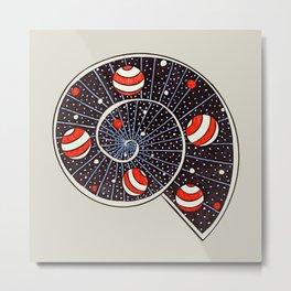 Spiral Galaxy Snail With Beach Ball Planets Metal Print